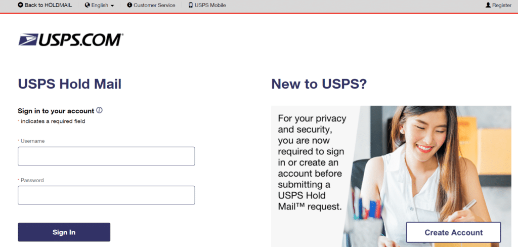 Hold Mail Request online