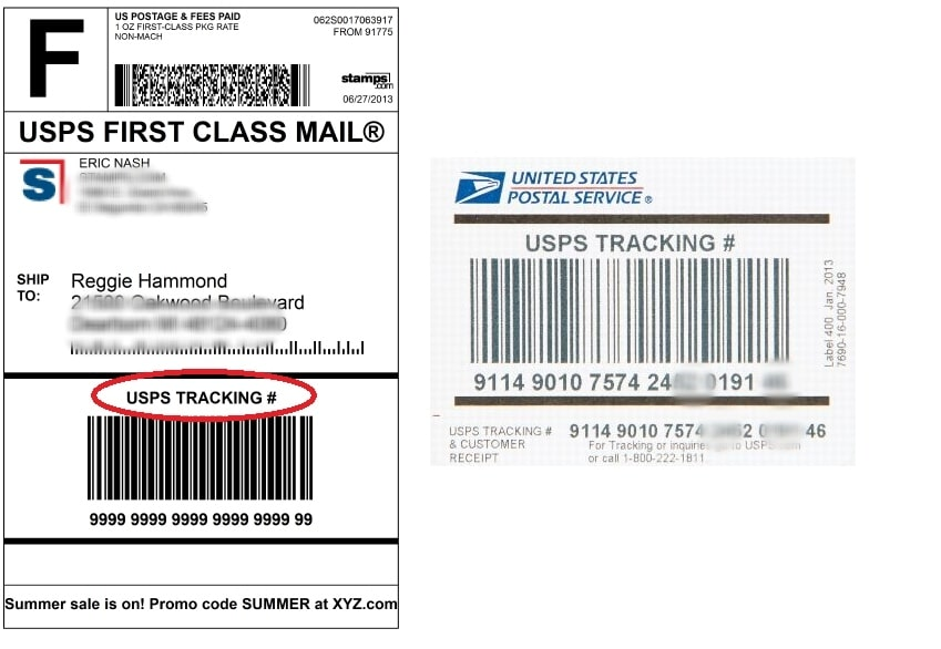 usps tracking id example